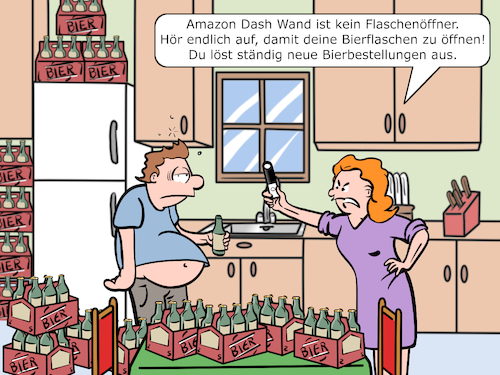 Cartoon: Amazon Dash Wand (medium) by CloudScience tagged amazon,dash,wand,online,bestellung,onlinebestellung,smart,technologie,fresh,ebusiness,flaschenoeffner,technik,tech,cartoon,illustration,humor,satire,bier,bierbauch,kueche,logistik,alexa,cloud,sprachsteuerung,spracherkennung,intelligenz,ki,digital,waren,warenkorb,lieferung,kuehlschrank,industrie,40,bierbestellungen,bierkiste,verwechslung,handel,bestellungen,amazon,dash,wand,online,bestellung,onlinebestellung,smart,technologie,fresh,ebusiness,flaschenoeffner,technik,tech,cartoon,illustration,humor,satire,bier,bierbauch,kueche,logistik,alexa,cloud,sprachsteuerung,spracherkennung,intelligenz,ki,digital,waren,warenkorb,lieferung,kuehlschrank,industrie,40,bierbestellungen,bierkiste,verwechslung,handel,bestellungen