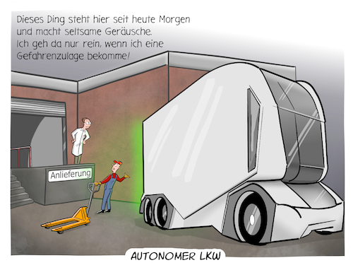 Cartoon: Autonomer LKW (medium) by CloudScience tagged autonom,autonomer,lkw,spedition,logistik,lieferung,mobilitaet,selbstfahrend,elektro,elektroantrieb,auto,lastkraftwagen,anlieferung,gefahrenzulage,tech,technologie,it,technik,business,ladezone,daten,digitalisierung,digital,wirtschaft,strasse,verkehr,mobil,zukunft,einride,trend,future,innovation,disruption,schenker,db,cartoon,tpod,illustration,autonom,autonomer,lkw,spedition,logistik,lieferung,mobilitaet,selbstfahrend,elektro,elektroantrieb,auto,lastkraftwagen,anlieferung,gefahrenzulage,tech,technologie,it,technik,business,ladezone,daten,digitalisierung,digital,wirtschaft,strasse,verkehr,mobil,zukunft,einride,trend,future,innovation,disruption,schenker,db,cartoon,tpod,illustration