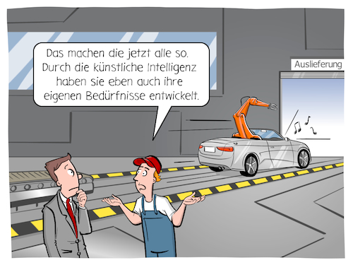 Cartoon: Künstliche Intelligenz (medium) by CloudScience tagged ki,industrie,industrie40,digitalisierung,digital,technologie,tech,technik,entwicklung,iot,produktion,kuenstliche,intelligenz,fabrik,logistik,auto,automobilproduktion,zukunft,trend,innovation,it,computer,maschine,learning,maschinelles,lernen,roboter,robotik,kuka,roboterarm,cartoon,wirtschaft,business,fertigung,auslieferung,werkshalle,transformation,internet,der,dinge,ki,industrie,industrie40,digitalisierung,digital,technologie,tech,technik,entwicklung,iot,produktion,kuenstliche,intelligenz,fabrik,logistik,auto,automobilproduktion,zukunft,trend,innovation,it,computer,maschine,learning,maschinelles,lernen,roboter,robotik,kuka,roboterarm,cartoon,wirtschaft,business,fertigung,auslieferung,werkshalle,transformation,internet,der,dinge