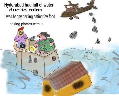 Cartoon: Couple enjoying in floods (medium) by anupama tagged floods