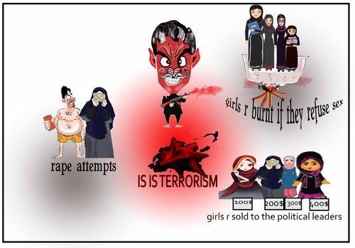 Cartoon: isis terrorisym (medium) by anupama tagged bruatal,acts,of,isis,terrorism