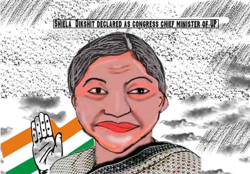 Cartoon: sheila dikshit carciature (medium) by anupama tagged sheila,dikshit,carciature