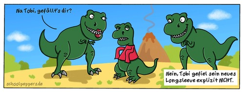 Cartoon: Schoolpeppers 175 (medium) by Schoolpeppers tagged dinosaurier,mode,tyrannosaurus,rex