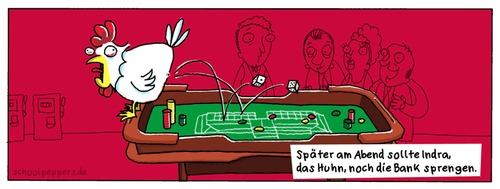 Cartoon: Schoolpeppers 17 (medium) by Schoolpeppers tagged glücksspiel,huhn,indra,tiere