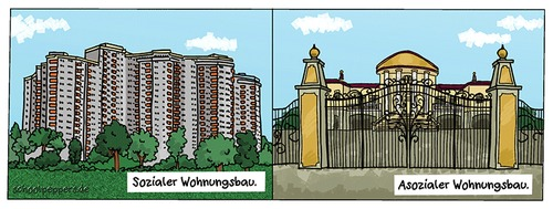 Cartoon: Schoolpeppers 314 (medium) by Schoolpeppers tagged reichtum,sozial,wohnung,villa,haus