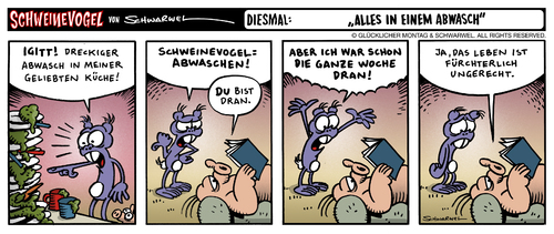 Cartoon: Schweinvogel Strip -  Abwasch (medium) by Schweinevogel tagged schweinevogel,sid,schwarwel,strip,cartoon