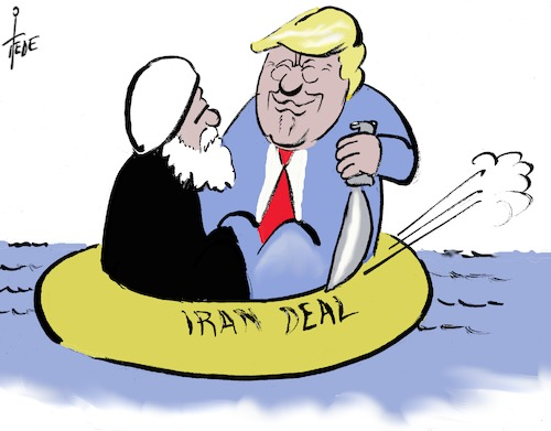 Cartoon: Iran - Deal (medium) by tiede tagged trump,rohani,iran,deal,atomabkommen,tiede,cartoon,karikatur,trump,rohani,iran,deal,atomabkommen,tiede,cartoon,karikatur