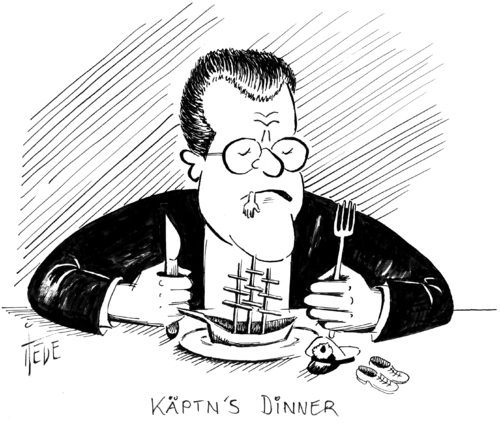 Cartoon: Käptn s Dinner (medium) by tiede tagged tiede,tiedemann,guttenberg,abberufung,kapitän,gorch,fock,guttenberg,gorch,fock,meuterei,schiff,see,armee,minister,kadett,schikane,bord,kommandant,ausbildung,segel,takelage,marine,matrose,verteidigungsminister