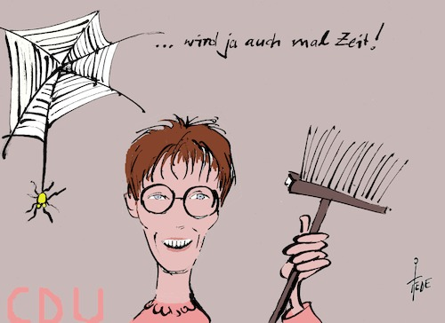 Cartoon: Kramp-Karrenbauer (medium) by tiede tagged kramp,karrenbauer,cdu,generalsekretärin,tiede,cartoon,karikatur,kramp,karrenbauer,cdu,generalsekretärin,tiede,cartoon,karikatur