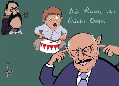 Cartoon: Marcel Reich-Ranicki-Video (medium) by tiede tagged literatur,matzerat,oskar,blechtrommel,ranicki,reich,marcel,grass,günter,günter,grass,marcel,reich,ranicki,blechtrommel,oskar,matzerat,literatur