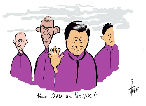 Cartoon: Neue Sekte? (medium) by tiede tagged gipfel,apec,peking,japan,putin,obame,jnping,xi,china,china,xi,jnping,obame,putin,japan,peking