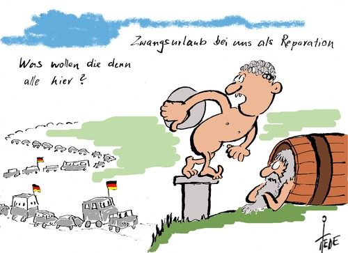 Cartoon: Reparationen (medium) by tiede tagged griechenland,schuldenkrise,reparationen,deutschland,tsipras,varoufakis,griechenland,schuldenkrise,reparationen,deutschland,tsipras,varoufakis