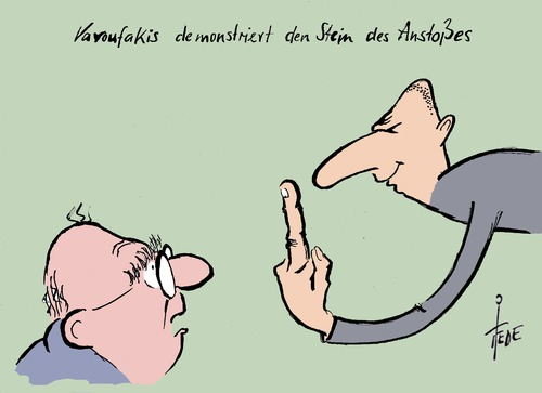 Cartoon: Varoufakis (medium) by tiede tagged varoufakis,griechenland,schuldenkrise,eu,euro,schäuble,tsipras,reparationen,jauch,varoufakis,griechenland,schuldenkrise,eu,euro,schäuble,tsipras,reparationen,jauch