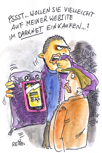 Cartoon: strassenverkauf (medium) by REIBEL tagged darknet,handel,strasse,anonym,dealer,sore,illegal,jacke,tablet,darknet,handel,strasse,anonym,dealer,sore,illegal,jacke,tablet