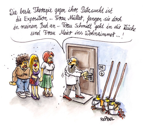 Cartoon: Therapiestunde (medium) by REIBEL tagged psychiater,beratung,therapie,exposition,zwang,störung,putzfimmel,putzen,psychiater,beratung,therapie,exposition,zwang,störung,putzfimmel,putzen