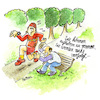Cartoon: Joggingwahn (small) by REIBEL tagged jogging,jogger,laufen,verfolgen,rentner,bank,kommentar,fitness,tracker,park,sonne