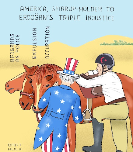 Cartoon: America Stirrup-Holder to Erdog. (medium) by Barthold tagged turkish,invasion,north,syria,american,mediation,negotiation,occupation,expulsion,displacement,population,replacement,violation,international,law,human,rights,kurds,sdf,ypg,fsa,turkey,erdogan,trump,pence,pompeo,triple,headed,horse,brigand