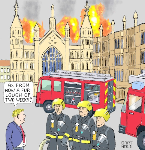 Cartoon: Johnson Chief of Fire Brigades (medium) by Barthold tagged boris,johnson,prorogation,parliament,parliamentary,work,coup,exclusion,wesminster,hall,firefighter,fire,truck,engine,brexit,furlough