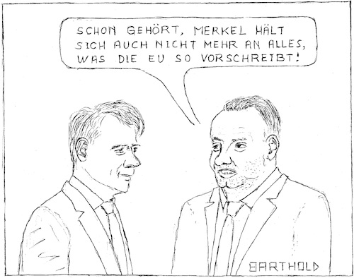 Cartoon: Merkels Umgang m. EU-NO2-Grenzw. (medium) by Barthold tagged kabinettsbeschluss,vermeidung,dieselfahrverbote,angela,merkel,bundeskanzlerin,erhöhung,stickoxidgrenzwert,regierungschef,polen,andrzej,duda,italien,giuseppe,conte,justizreform,neuverschuldung,eu,konformität
