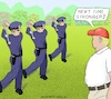 Cartoon: Policemen Dance (small) by Barthold tagged donald,trump,visit,kenosha,wisconsin,comparison,police,faults,with,golf,golfing,george,floyd,jacob,blake,dijon,kizzee,course,trainer,coach,dance,ballet,cheography,resort,swing,cartoon,caricature,barthold