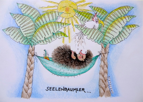 Cartoon: seelenbaumler ... (medium) by katzen-gretelein tagged urlaub,igel