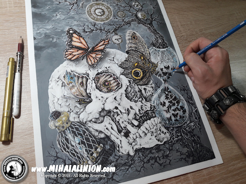 Cartoon: Drawing Vertex - Dark Art (medium) by Art by Mihai Alin Ion tagged drawing,painting,illustration,vertex,art,darkkart,pencildrawing,horror,mihaialinion,skull,skullart