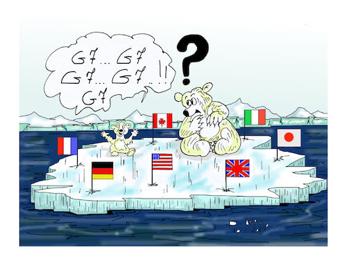 Cartoon: G7 (medium) by vasilis dagres tagged environment,united,states,of,america,germany,france,italy,donald,trump,merkel,macron