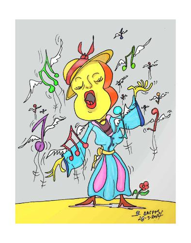Guitar Opera Diva Von Vasilis Dagres Medien Kultur Cartoon