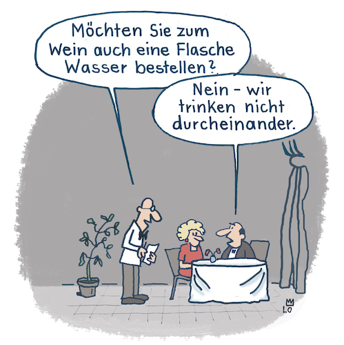 Cartoon: Im Weinlokal (medium) by Lo Graf von Blickensdorf tagged wein,kellner,mann,frau,ehepaar,chillen,wasser,bar,club,lokal,restaurant,ober,cartoon,candlenight,wein,kellner,wasser,lokal,restaurant,ober,cartoon,candlenight