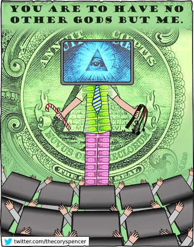 Cartoon: idol worship (medium) by Cory Spencer tagged money,dollar,euro,god,believe