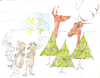 Cartoon: der Hirsch und seine Schwestern (small) by herranderl tagged advent,weihachten,engel,hirsche,wald,christmas