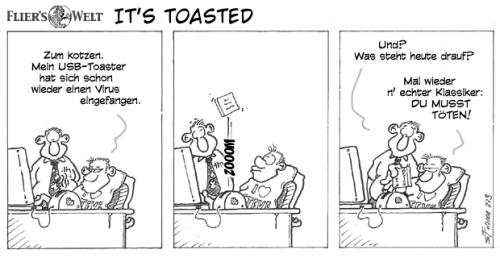 Cartoon: Its toasted! (medium) by FliersWelt tagged viren,usb,toaster,computer,