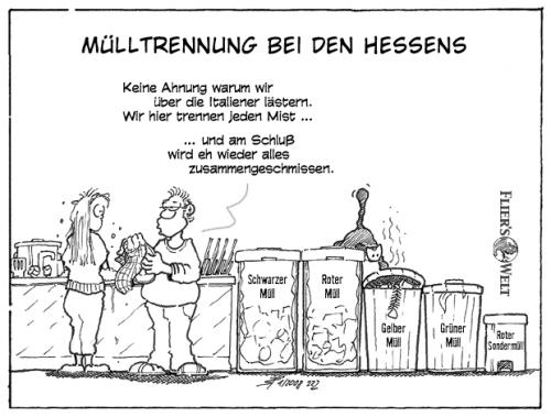 Cartoon: Mülltrennung bei den Hessens (medium) by FliersWelt tagged hessen,wahl,koch,