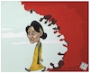 Cartoon: Burma bombs on Rohingya village (small) by Christi tagged burma,bomb,rohingya,onu,suu,kyi