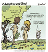 Cartoon: adam eve and god 19 (small) by mortimer tagged mortimer,mortimeriadas,cartoon,comic,gag,adam,eve,god,bible,paradise,eden,biblical,christian,original,sin,sex,nude,toons,hairy,belly,blonde,snake,apple