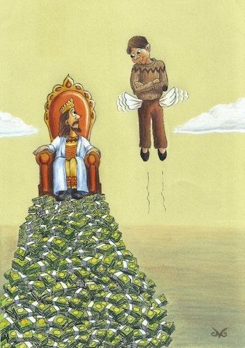 Cartoon: Dictatorship of Money (medium) by menekse cam tagged dictatorship,money,king,chair,poor,man,empty,pocket,wings