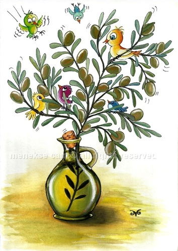 Cartoon: Olive oil is the life (medium) by menekse cam tagged olive,oil,cyprus,festival,cartoon,contest,tree,birds