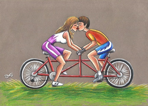 Cartoon: Tandem bikes for lovers (medium) by menekse cam tagged cartoon,contest,competition,bicycle,belgium,kartoenale,euro,lovers,love,cycling,bikes,tandem,tandem,love,lovers,euro,kartoenale,belgium,bicycle,competition,contest,cartoon