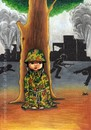 Cartoon: Children and War (small) by menekse cam tagged children,war,camouflage,syria,palestine,israel,bomb,women,civilians