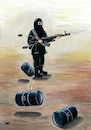 Cartoon: Terrorism (small) by menekse cam tagged terrorism,terror,terrorist,oil,barrels,weapon,fire,bullet,shells