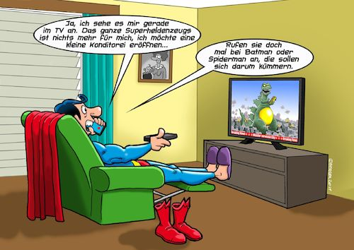 Cartoon: Berufswechsel (medium) by C Berger tagged superman,beruf,superhelden,tv,godzilla