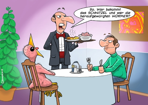 Cartoon: Würmer (medium) by Joshua Aaron tagged vogel,würmer,restaurant,kellner,schnitzel,fütterung,jungvogel,vogel,würmer,restaurant,kellner,schnitzel,fütterung,jungvogel