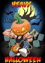 Cartoon: Heavy Halloween (small) by Joshua Aaron tagged heavy,metal,rock,roll,rocker,halloween,pumpkin,kürbis,friedhof,graveyard