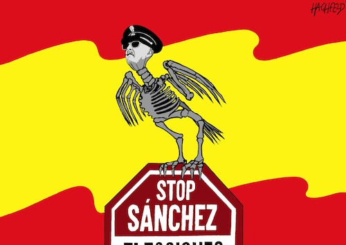 Cartoon: Das rechte Spanien demonstriert (medium) by Hachfeld tagged spanien,demo,partido,popular,franco,spanienflagge