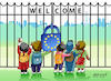 Cartoon: Welcome not welcome (small) by Vladimir Khakhanov tagged emigrants