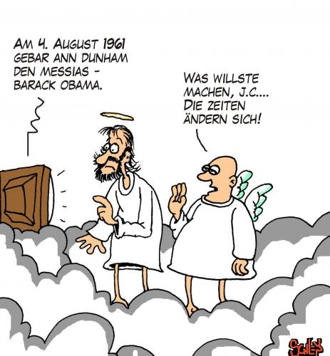 Cartoon: Barack der Messias (medium) by Karsten tagged politik,usa,obama,religion