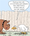Cartoon: Fighting Dog (small) by Karsten Schley tagged christmas,dogs,geese,animals,veterans,social,issues,food,seasonal,holidays,traditions