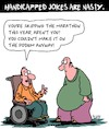 Cartoon: Handicapped Jokes (small) by Karsten Schley tagged handicapped,people,health,medical,sports,social,issues,food,obesity,wheelchairs,humor