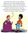 Cartoon: Reactionnaire ! (small) by Karsten Schley tagged feminisme,fanatisme,sectarisme,politique,political,correctness,femmes,societe,racisme