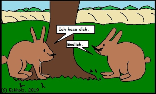 Cartoon: Ich hase dich (medium) by Amokkritzler tagged hase,wortspiel,tierwelt,rammler,häsin